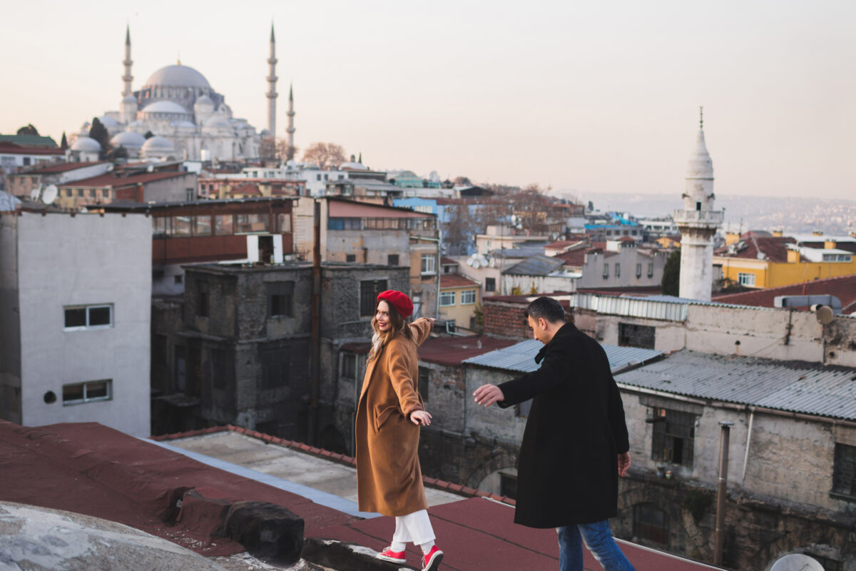 Couple in love walking on the roof